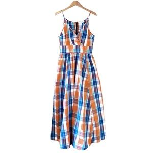 eShakti Plaid Empire Waist Maxi Dress